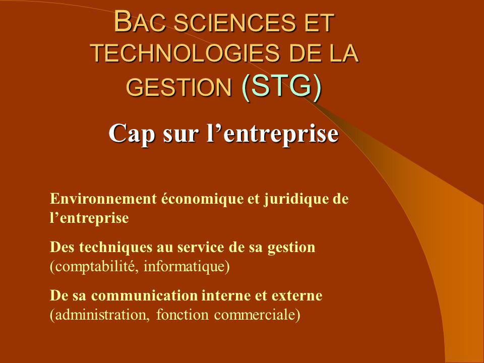 BAC SCIENCES ET TECHNOLOGIES DE LA GESTION (STG)
