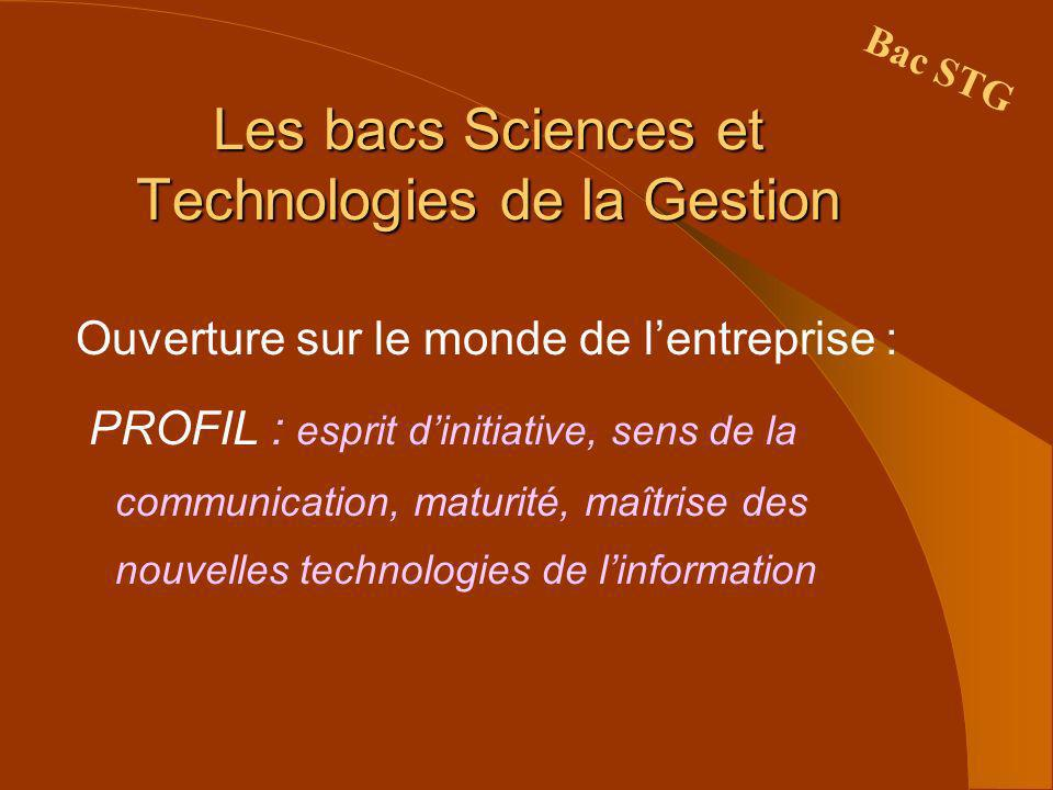 Les bacs Sciences et Technologies de la Gestion