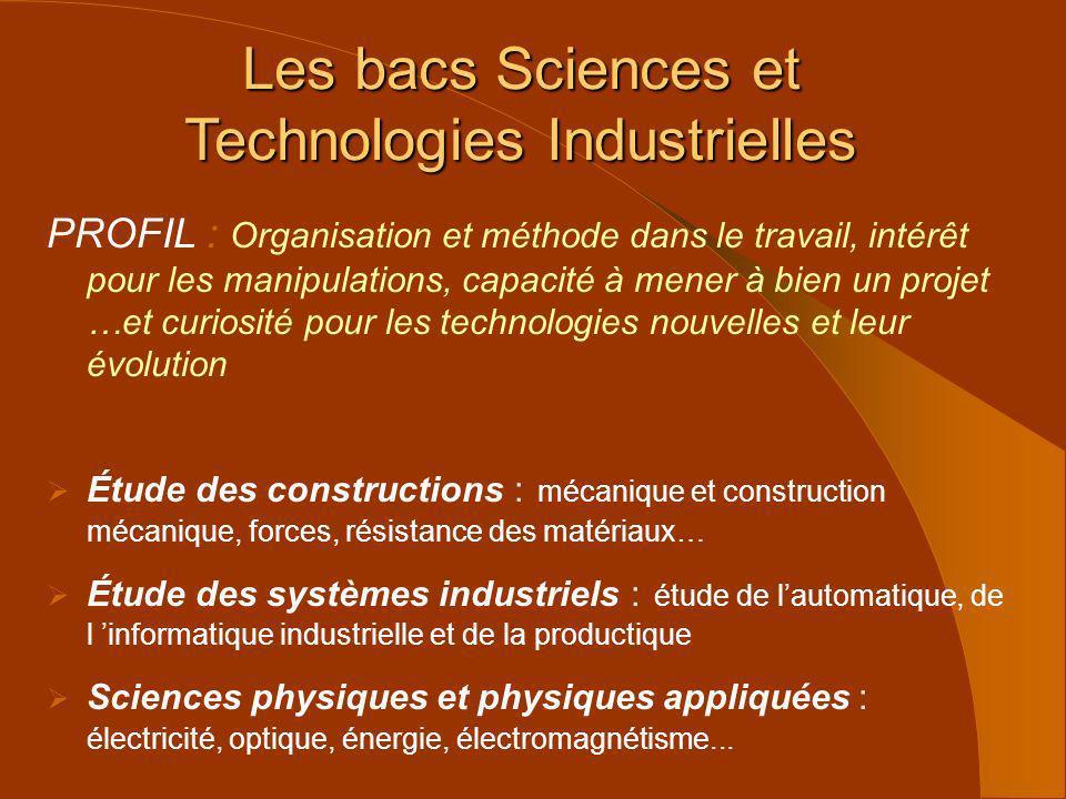 Les bacs Sciences et Technologies Industrielles