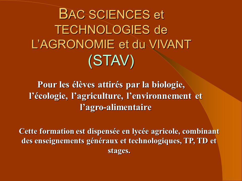 BAC SCIENCES et TECHNOLOGIES de L'AGRONOMIE et du VIVANT (STAV)