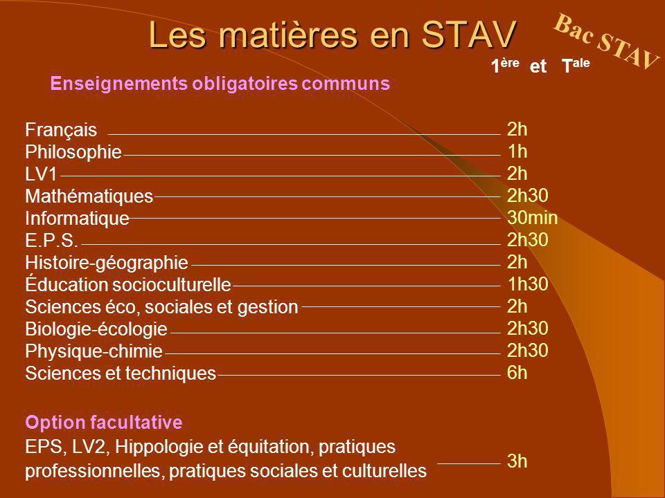 Les matières en STAV Bac STAV