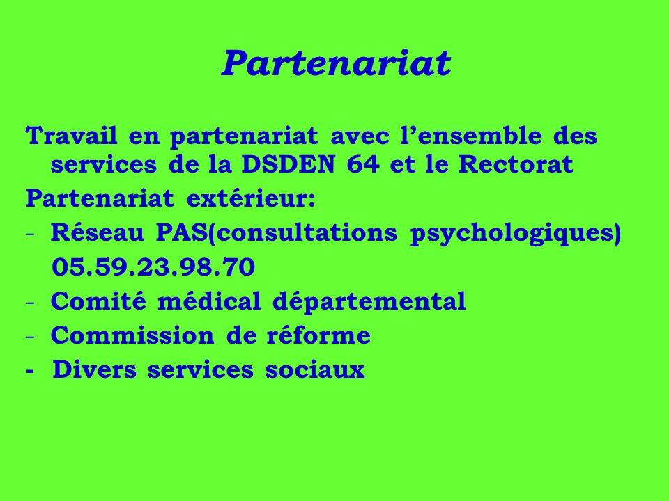 Partenariat Travail en partenariat avec l'ensemble des services de la DSDEN 64 et le Rectorat. Partenariat extérieur: