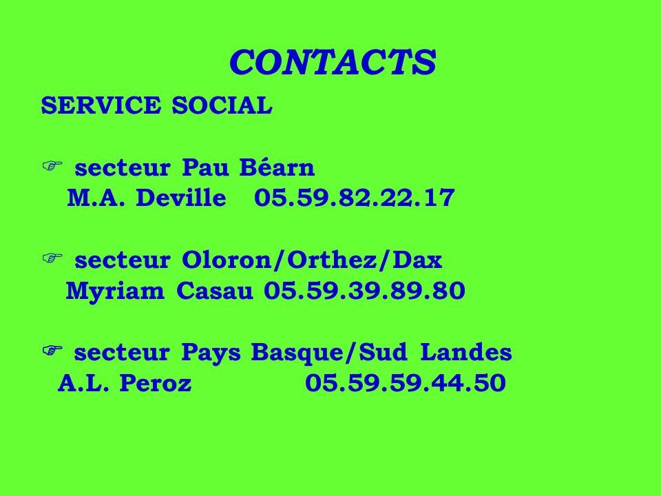 CONTACTS SERVICE SOCIAL secteur Pau Béarn M.A. Deville 05.59.82.22.17