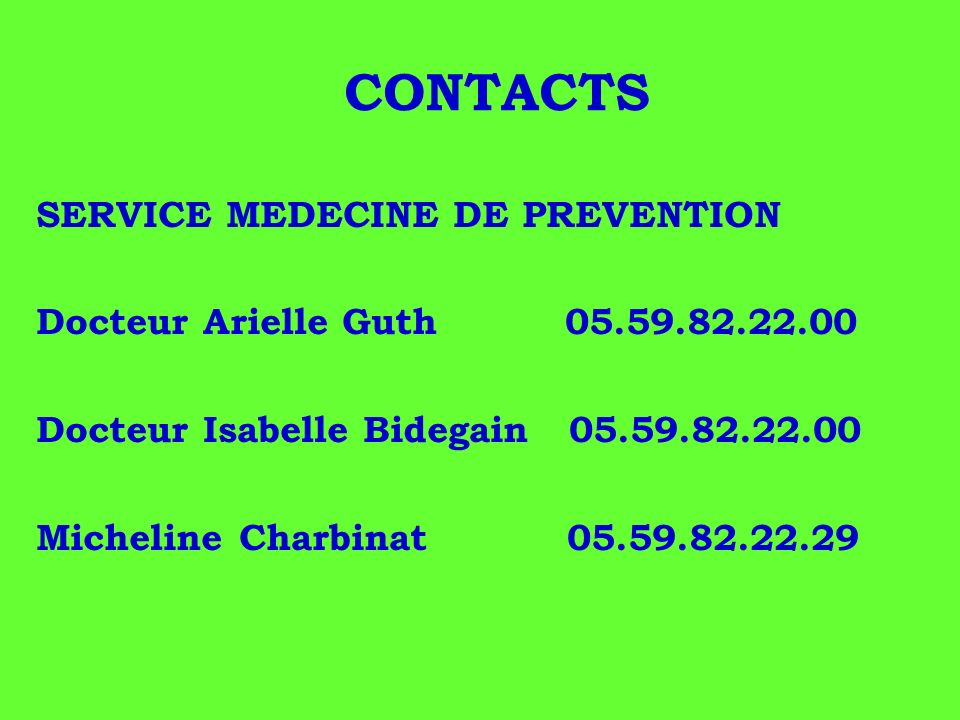 CONTACTS SERVICE MEDECINE DE PREVENTION