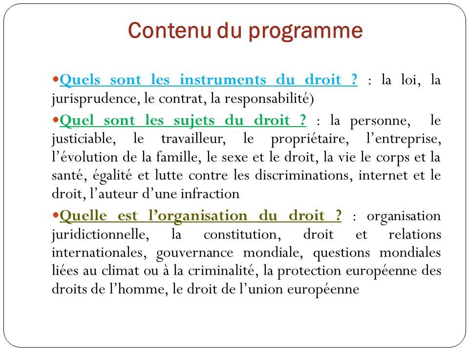 Contenu du programme Quels sont les instruments du droit : la loi, la jurisprudence, le contrat, la responsabilité)
