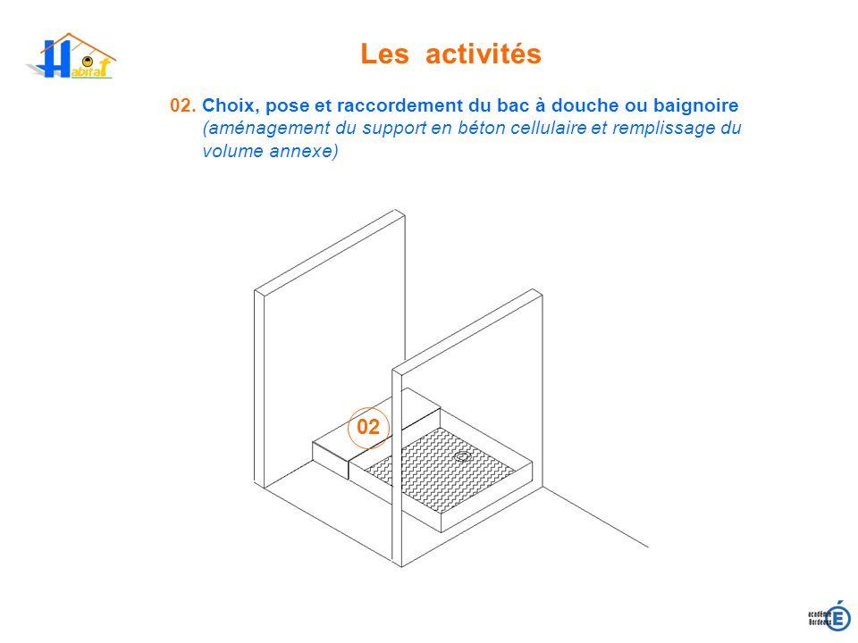 Les activités02. Choix, pose et raccordement du bac à douche ou baignoire.