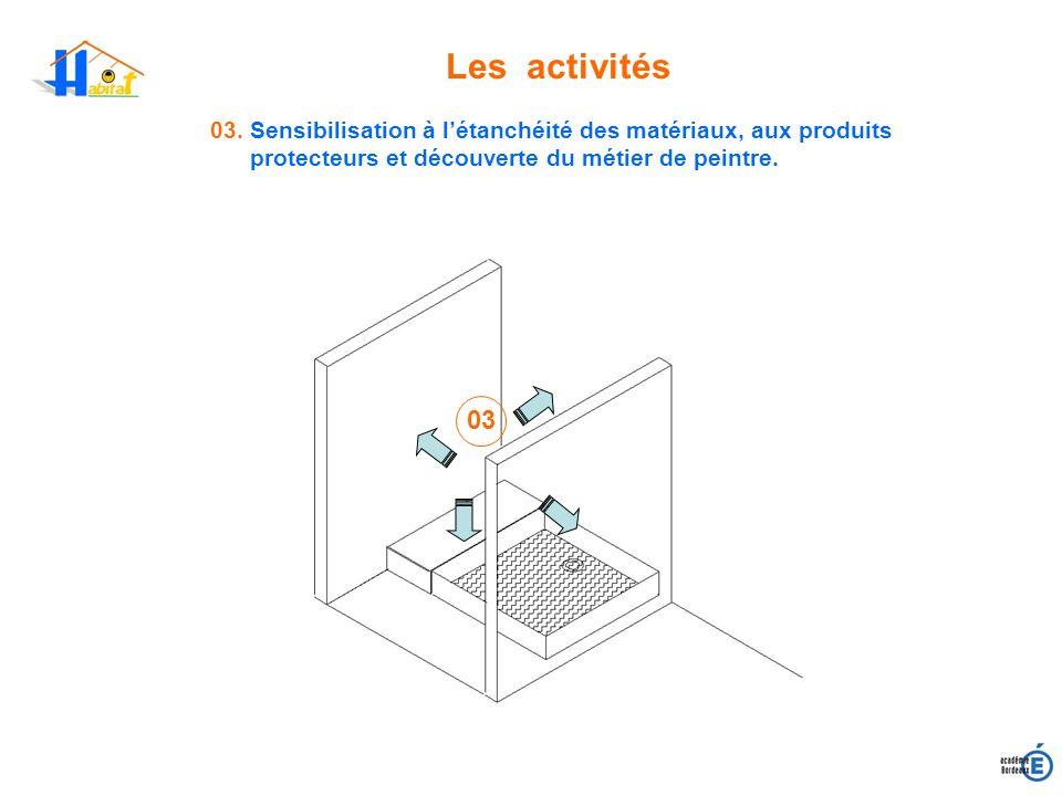 Les activités03. Sensibilisation à l'étanchéité des matériaux, aux produits protecteurs et découverte du métier de peintre.