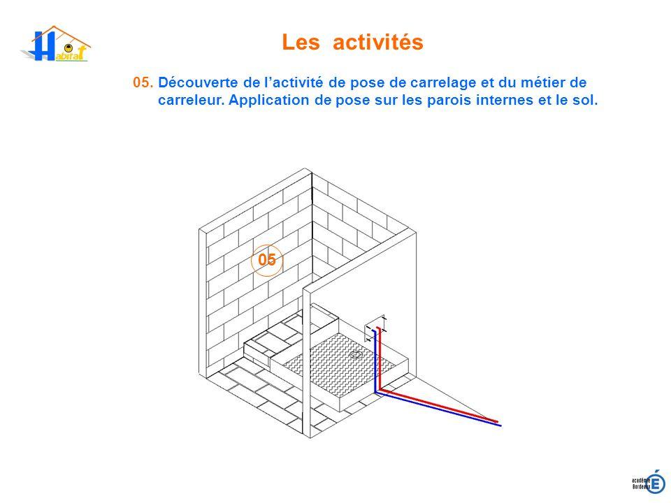 Les activités05. Découverte de l'activité de pose de carrelage et du métier de carreleur. Application de pose sur les parois internes et le sol.