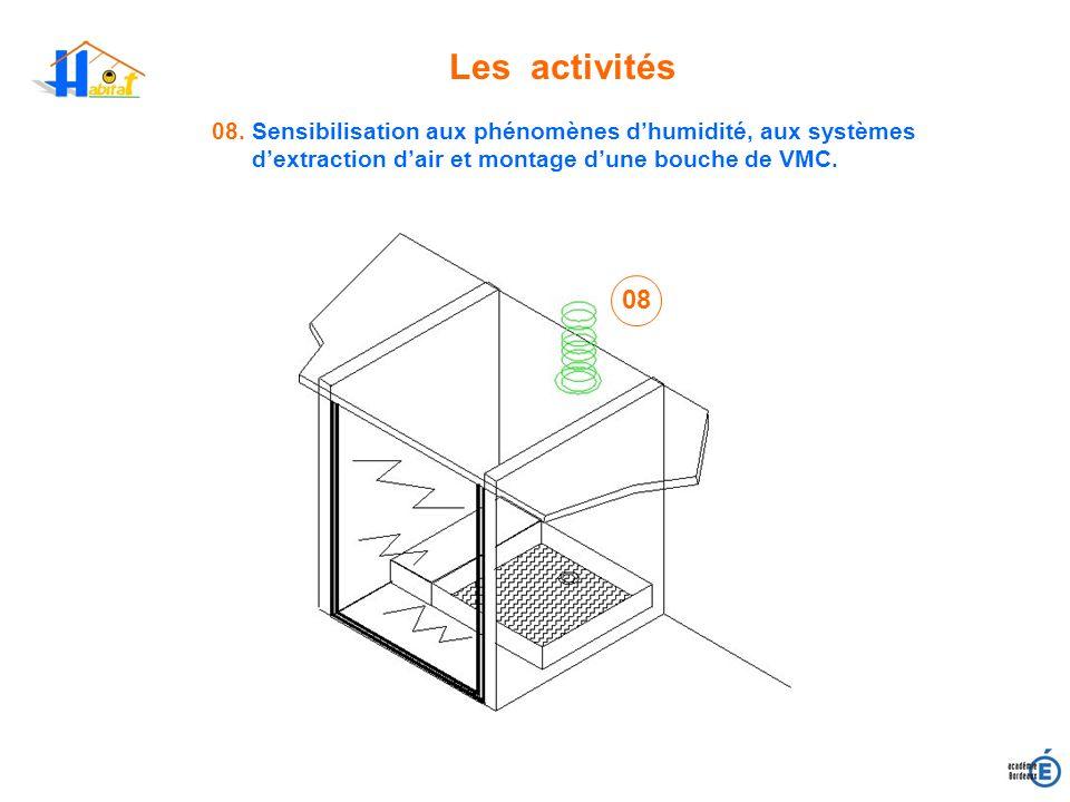 Les activités 08. Sensibilisation aux phénomènes d'humidité, aux systèmes d'extraction d'air et montage d'une bouche de VMC.