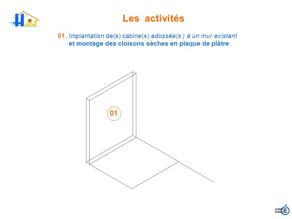 Les activités01. Implantation de(s) cabine(s) adossée(s ) à un mur existant. et montage des cloisons sèches en plaque de plâtre.