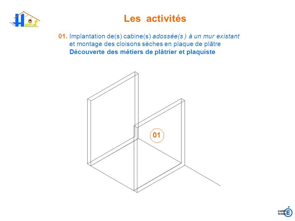 Les activités 01. Implantation de(s) cabine(s) adossée(s ) à un mur existant. et montage des cloisons sèches en plaque de plâtre.