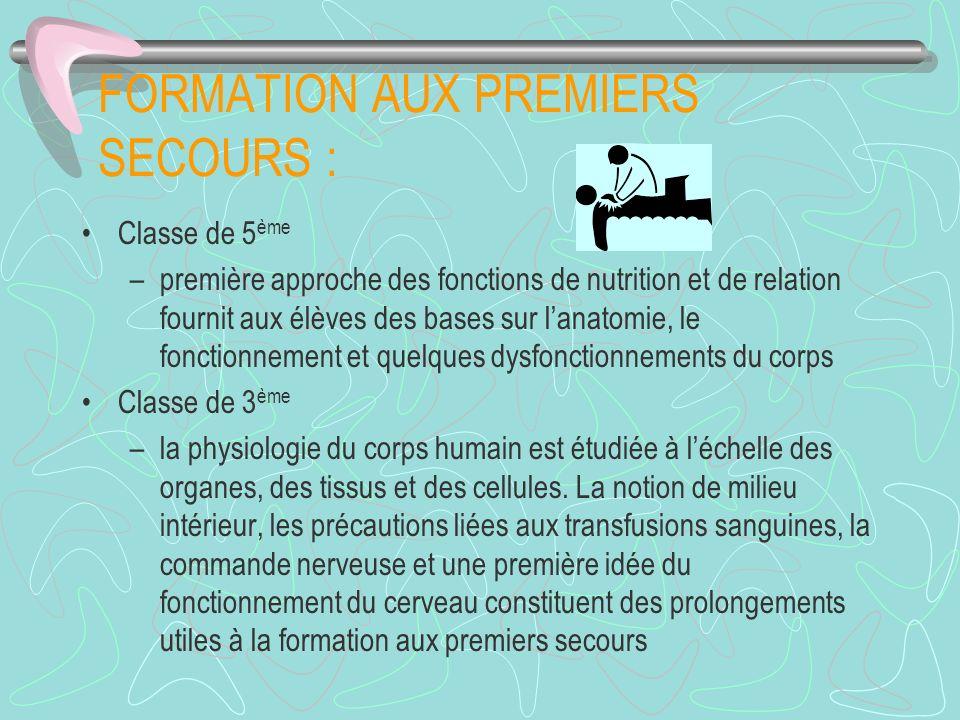 FORMATION AUX PREMIERS SECOURS :