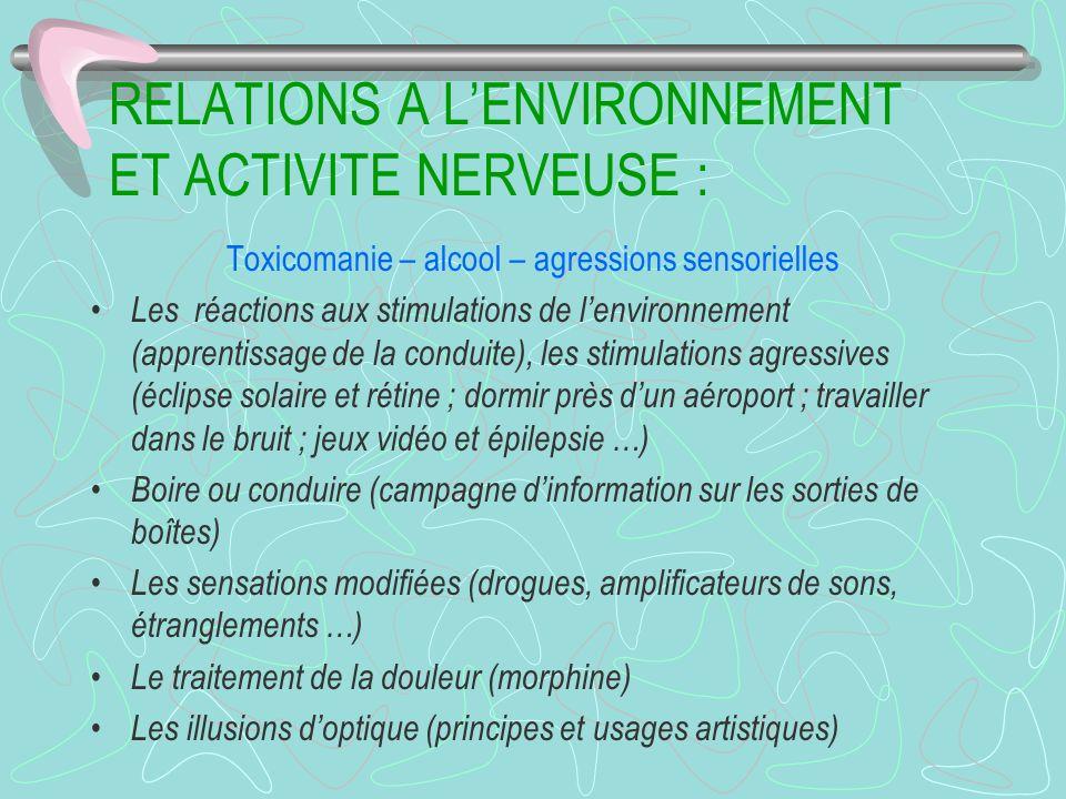 RELATIONS A L'ENVIRONNEMENT ET ACTIVITE NERVEUSE :