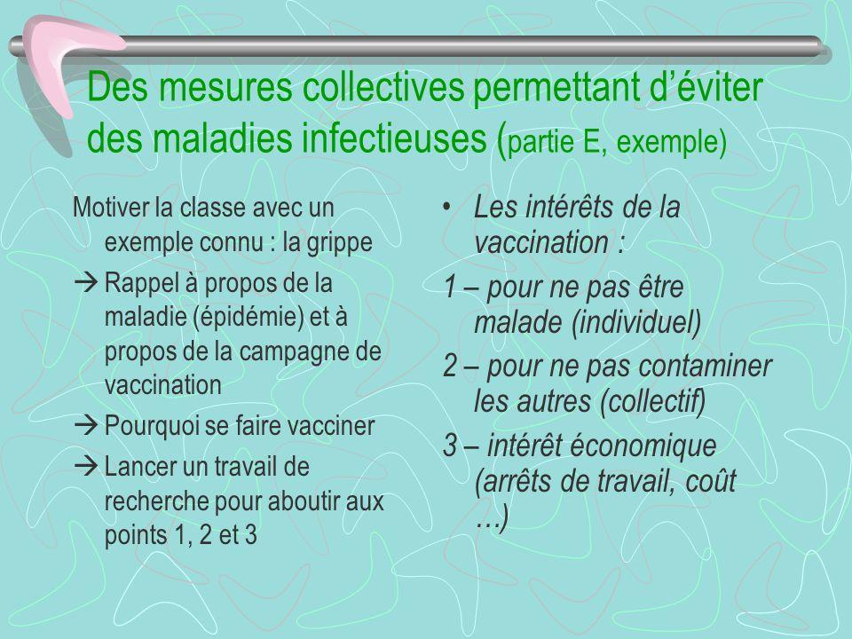 Des mesures collectives permettant d'éviter des maladies infectieuses (partie E, exemple)