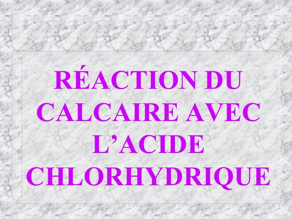 RÉACTION DU CALCAIRE AVEC L'ACIDE CHLORHYDRIQUE