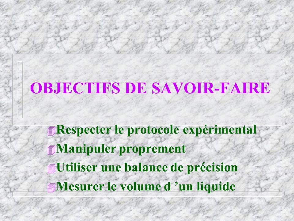 OBJECTIFS DE SAVOIR-FAIRE