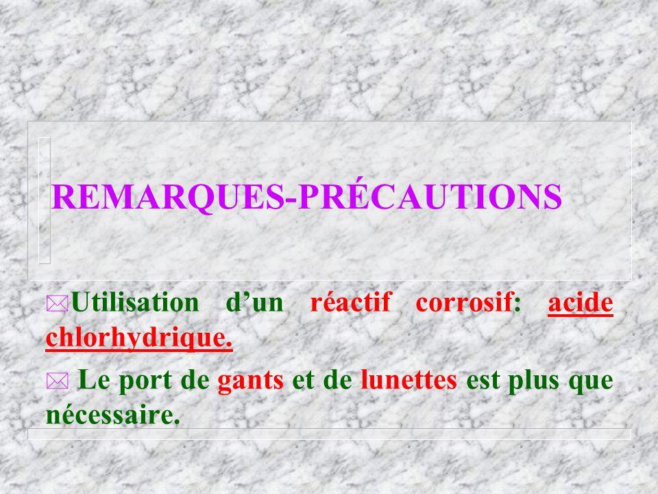 REMARQUES-PRÉCAUTIONS