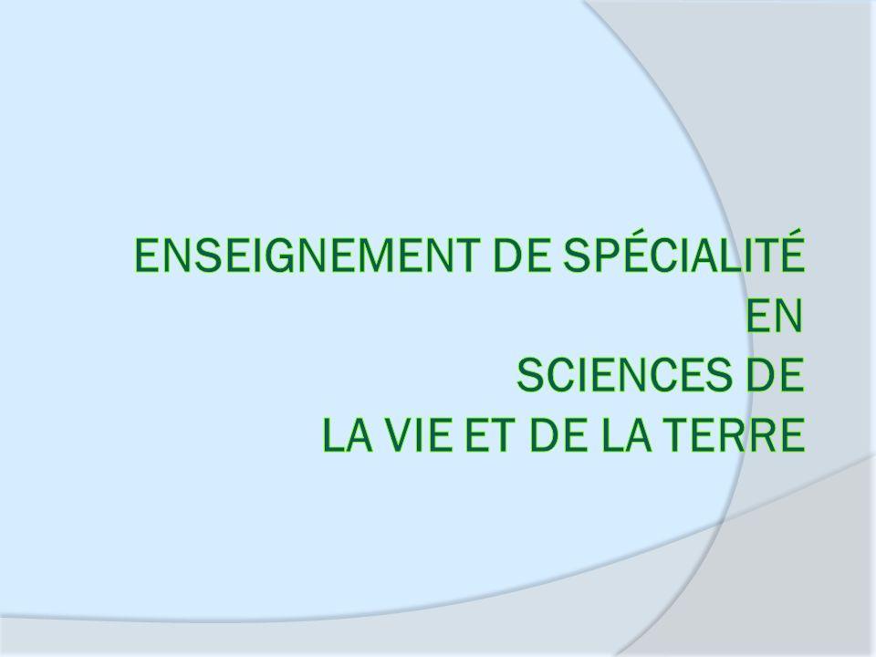 Enseignement de spécialité en Sciences de la Vie et de la Terre