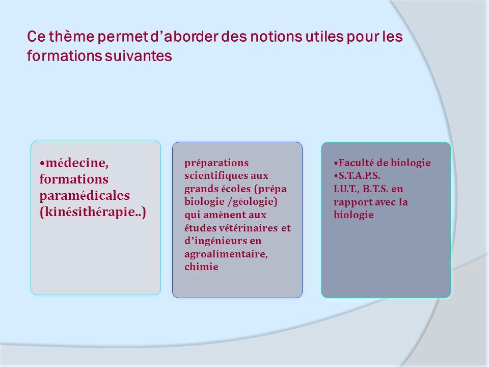 Ce thème permet d'aborder des notions utiles pour les formations suivantes