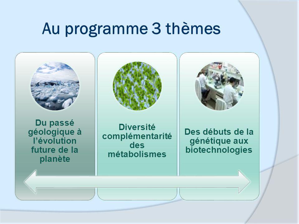 Au programme 3 thèmes Du passé géologique à l'évolution future de la planète. Diversité complémentarité des métabolismes.