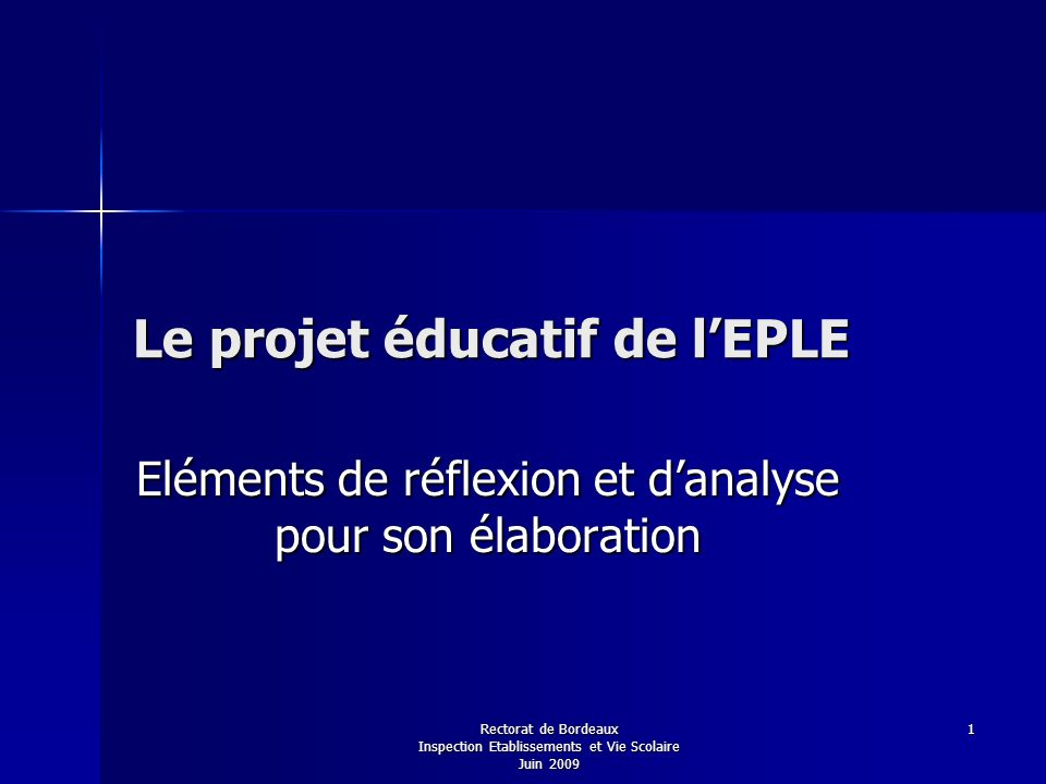 Le projet éducatif de l'EPLE