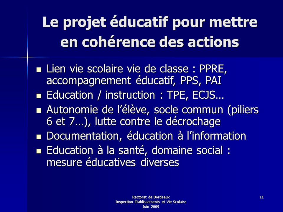 Le projet éducatif pour mettre en cohérence des actions