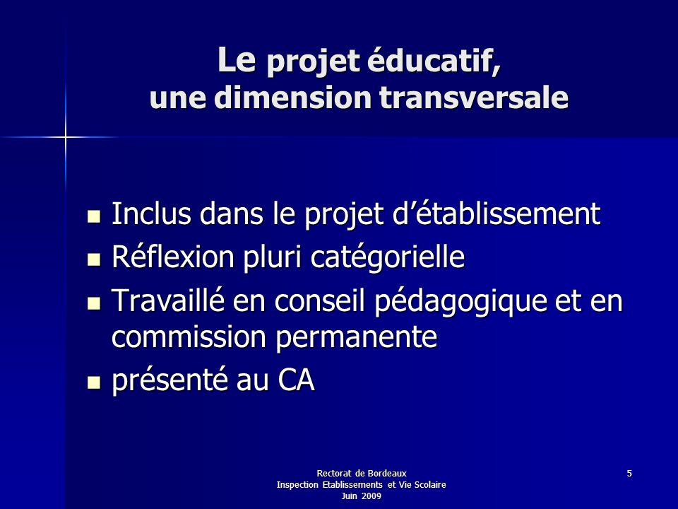 Le projet éducatif, une dimension transversale