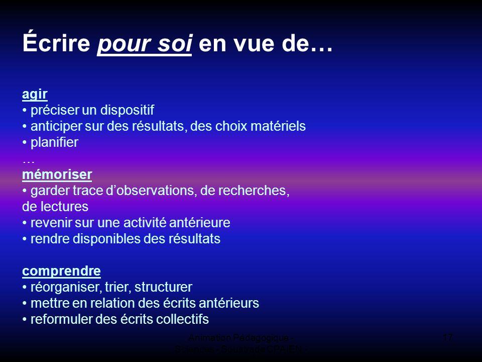 Animation Pédagogique - Sciences - Soustrade CPAIEN - 31/1 et 7/2