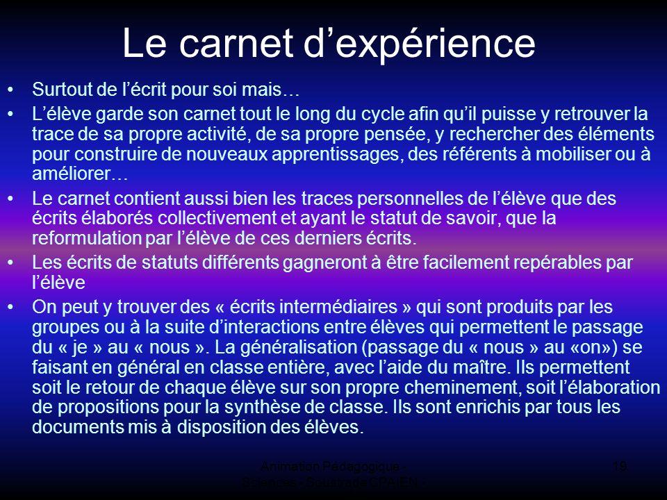 Le carnet d'expérience