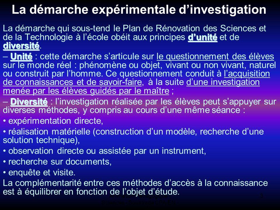 La démarche expérimentale d'investigation