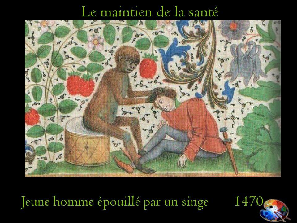 Jeune homme épouillé par un singe 1470