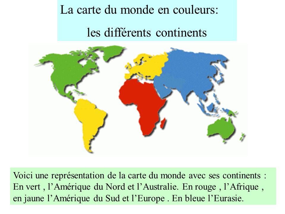les différents continents
