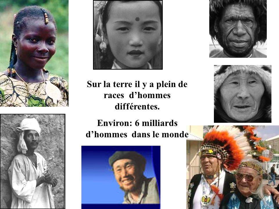 Sur la terre il y a plein de races d'hommes différentes.