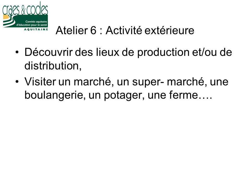 Atelier 6 : Activité extérieure