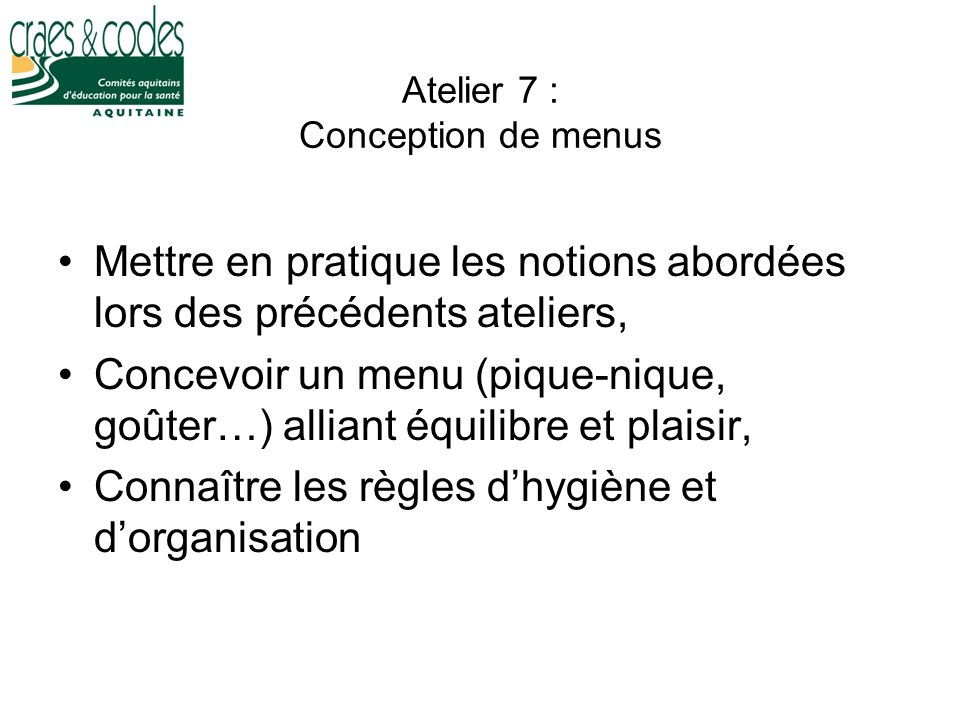 Atelier 7 : Conception de menus