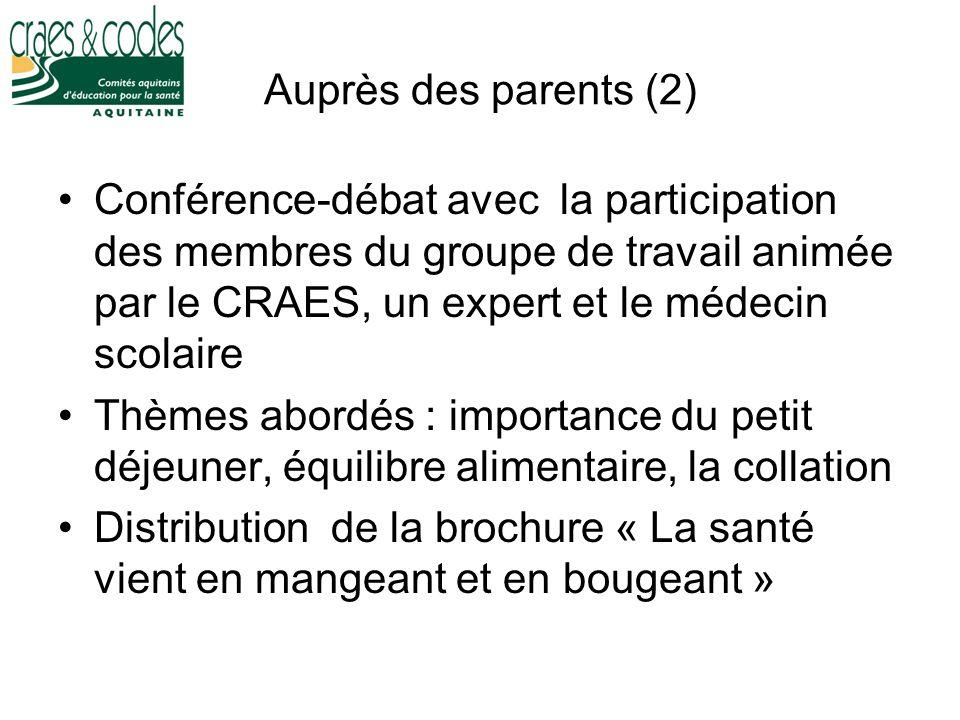Auprès des parents (2) Conférence-débat avec la participation des membres du groupe de travail animée par le CRAES, un expert et le médecin scolaire.