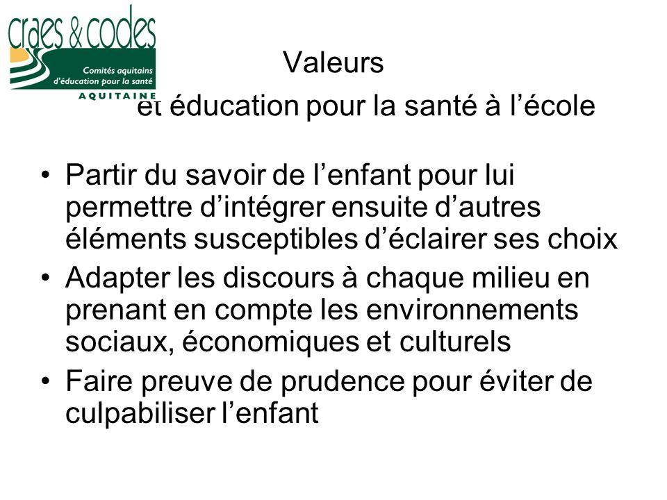 Valeurs et éducation pour la santé à l'école