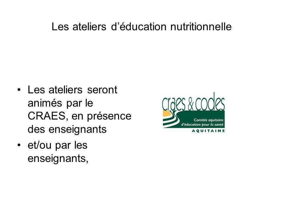 Les ateliers d'éducation nutritionnelle