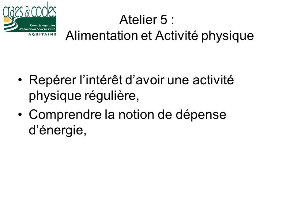 Atelier 5 : Alimentation et Activité physique