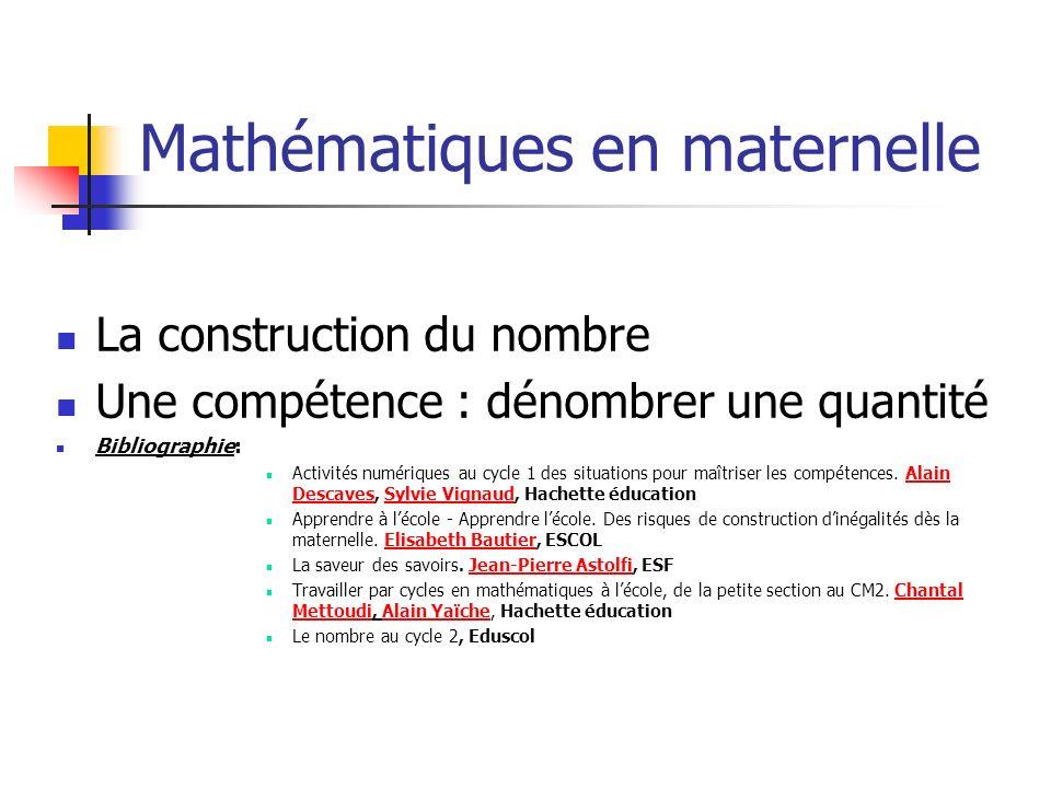 Mathématiques en maternelle