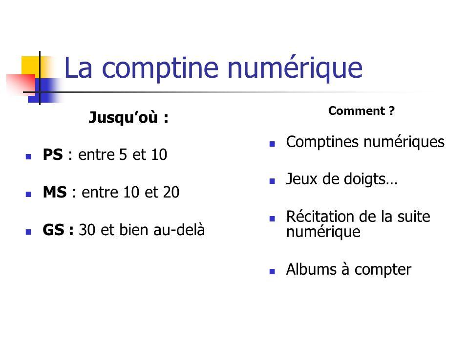 La comptine numérique Jusqu'où : Comptines numériques