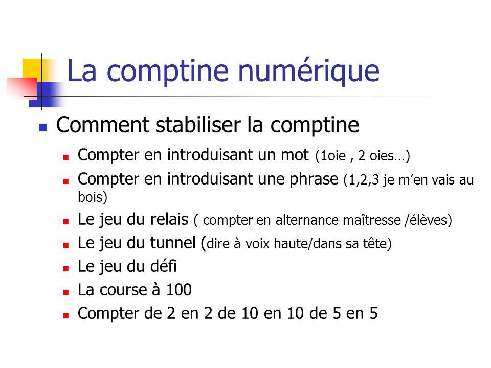 La comptine numérique Comment stabiliser la comptine