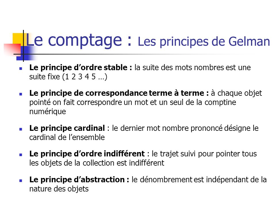 Le comptage : Les principes de Gelman