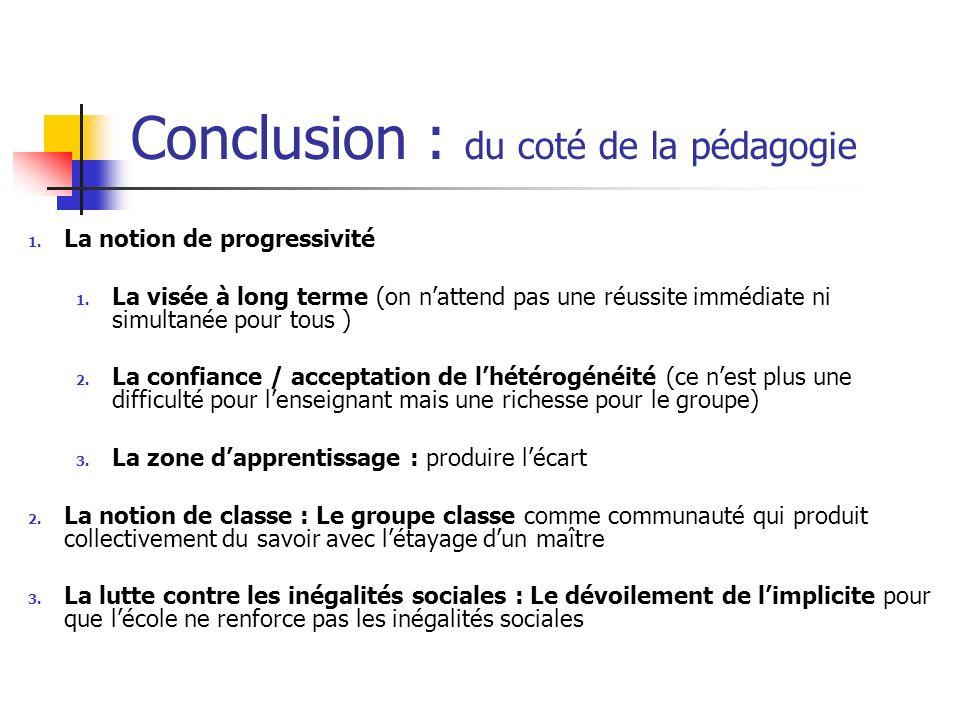Conclusion : du coté de la pédagogie