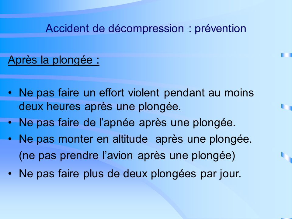 Accident de décompression : prévention