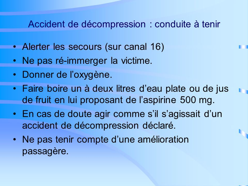 Accident de décompression : conduite à tenir