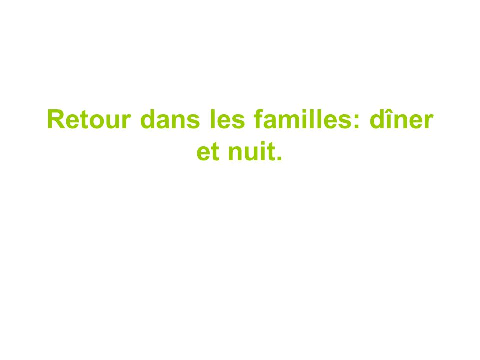 Retour dans les familles: dîner et nuit.