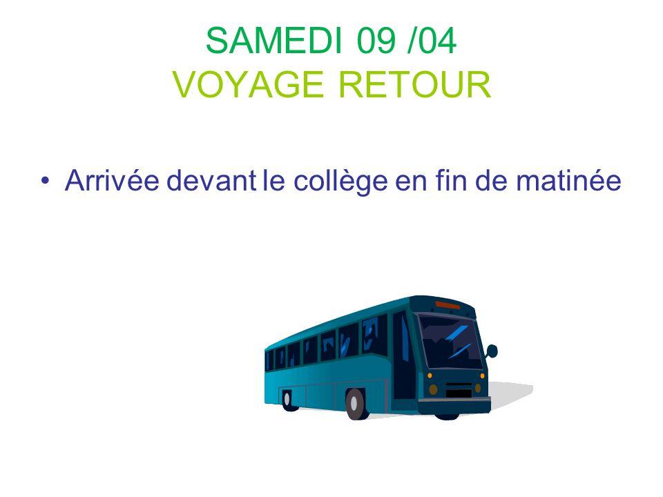 SAMEDI 09 /04 VOYAGE RETOUR Arrivée devant le collège en fin de matinée 64