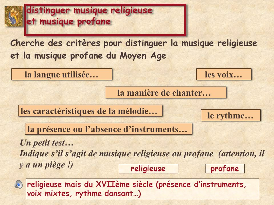 distinguer musique religieuse et musique profane