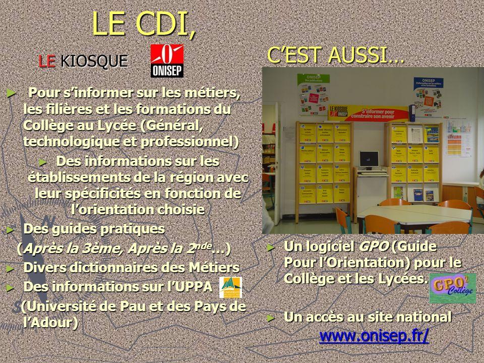 LE CDI, C'EST AUSSI… LE KIOSQUE